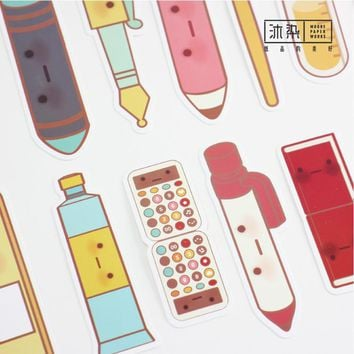 30 pcs/lot Cartoon Pen Watch Paper Bookmark Gift Stationery Film Bookmarks Book Holder School Supplies Stationery Papelaria