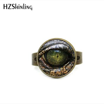 2017 New Style Adjustable Rings For Women Dragon Eye Ring Handcrafted Reptile Eye Jewelry Glass Dome Ring Gifts Men