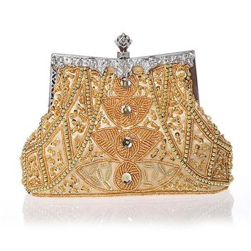 2016 New Vintage women evening bags beaded wedding handbags clutch purse bag for wedding day clutches purse evening bags WY37