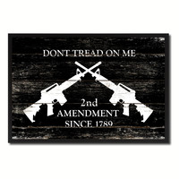 2nd Amendment Dont Tread On Me M4 Rifle Military Flag Vintage Canvas Print with Picture Frame Home Decor Man Cave Wall Art Collectible Decoration Artwork Gifts