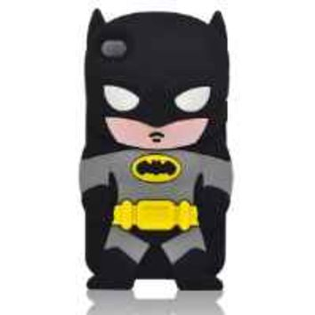 Oneshow Justice League Series 3D Black Cool Batman Hero Silicone Case Cover Design Compatible for Apple Ipod Touch 4 4g 4th Generation