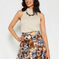Playful Feeling Skirt in Realistic Cats | Mod Retro Vintage Skirts | ModCloth.com