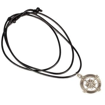 New Compass Pendant Necklace Choker Chains Charm Black Leather Cord