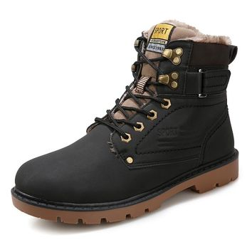 2016 New Arrival Men Boots Autumn Winter PU Leather Fashion Casual Men Outdoor Work Shoes Martin Motorcycle Boot
