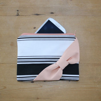 Makeup Bag / Zipper Pouch / Cosmetic Case - Black and White Stripes Peach Bow - Customizable Bow Style