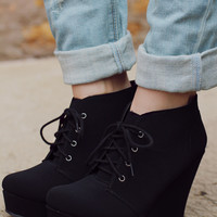 So Posh Wedge Bootie - Black