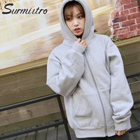 Surmiitro Oversized Hooded Sweatshirt Zipper Women 2018 Autumn Winter New Hoodies Women Long Sleeve Jacket Plus Size Coat Female