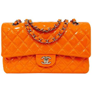 Chanel Orange Diamond Quilted Patent Leather 2.55 Double Flap Bag Medium
