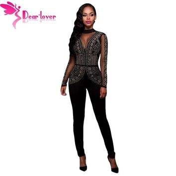 Dear-Lover Long Jumpsuits Playsuits Steampunk Studded Pattern Mesh Insert Night Club Rompers Overalls for Women Winter LC64123