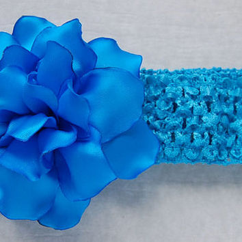 Baby Headband , Kanzashi Flower , Baby Crochet Headband , Blue Flower