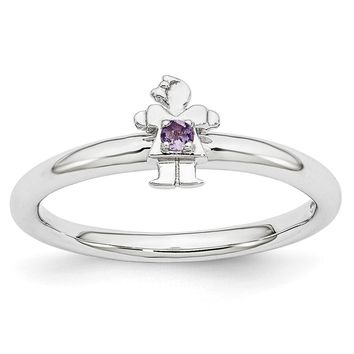 Rhodium Plated Sterling Silver Stackable Amethyst 7mm Girl Ring