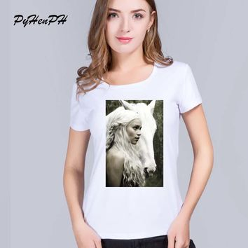 PH Fashion women t shirt 2016 Game of Thrones Print tshirt woman Mother of Dragon O-neck tee hipster tops Tee Shirt Femme