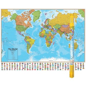 (2 Ea) Hemispheres Laminated Map World