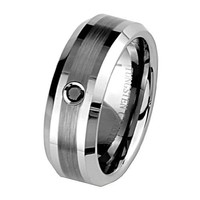 8mm 1 one Stone Black Diamond Bezel Cobalt Free Tungsten Carbide COMFORT-FIT Wedding Band Ring for Men and Women (Size 8 to 12) - Size 8