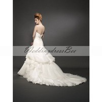 A-line strapless Chapel train gorgeous organza with ruffle wedding dress