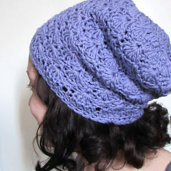 Slouch Beanie in Periwinkle , Slouch Hat, Crochet Shells Hat , Cotton Blend , Slouchy