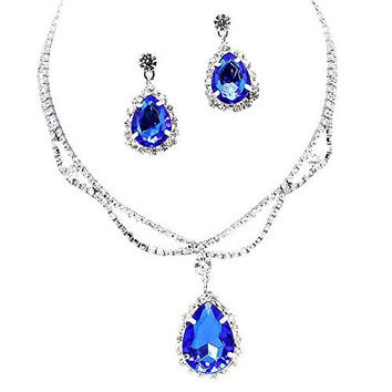 Royal Cobalt Blue Statement Teardrop Bridal Bridesmaid Necklace Earring Set Silver Tone D3
