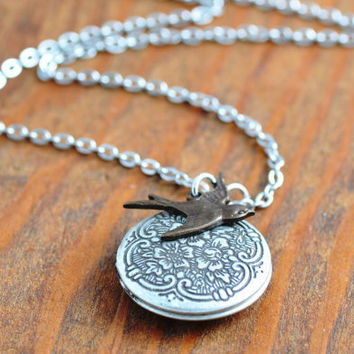 Silver Bird Locket Necklace - antiqued silver locket, locket pendant, flower locket