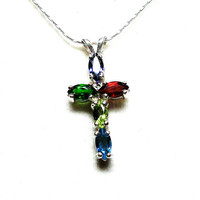 """Cross, multi stone cross, cross pendant, religious necklace, primary colors,  red green blue, rainbow necklace,   """"Reflections of a Rainbow"""""""