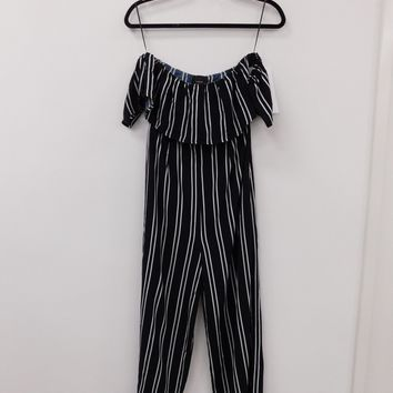 Off the Shoulder Jumpsuit in Navy with White Pinstripes