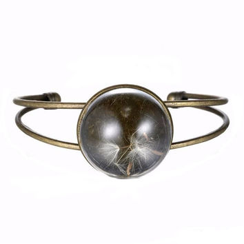 Dandelion Round Glass Alloy Bangle Bracelet