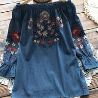 Cupshe Fear Nothing Off Shoulder Embroidered Dress