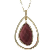 Pink Rhodonite Gold Plated Sterling Silver Teardrop Pendant