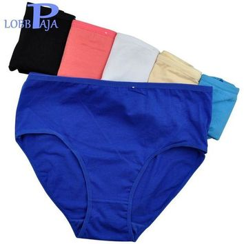 DCCKFV3 LOBBPAJA Brand Lot 6 pcs Woman Underwear Cotton High Waist Briefs Ladies Mothers Panties Knickers Intimates Plus Size for Women