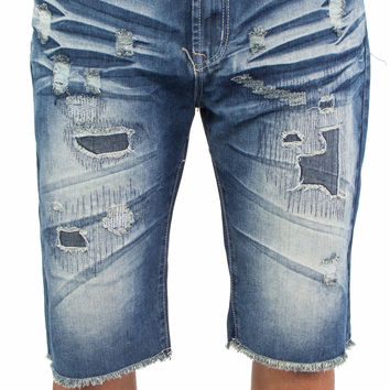 Vintage Wash Distressed Cutoff Denim Shorts