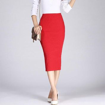 DK7G2 2017 Spring Autumn Long Pencil Skirts Women Sexy Slim Package Hip Maxi Skirt Lady Winter Sexy Chic Wool Rib Knit midi Skirt Saia