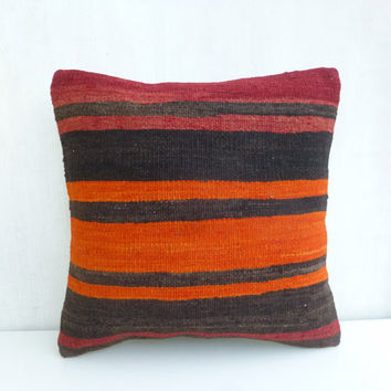 Dark brown & Tangerine Kilim Pillow Cover