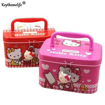 Keythemelife Cartoon Kids Money Saving Box Coin Piggy Bank Storage Box with Lock Hello Kitty Money box candy boxes 2C