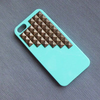 iPhone 5 Case, iPhone 5 ,Cover,Studded Iphone 5 Case, iPhone Case 5, bronze studs light green Hard Case Cover -- iPhone 5 Hard Case