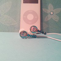 Mini  Blue Sugar Skull earbuds with swarovski crystals
