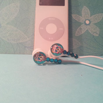 Turquoise Blue Sugar Skull earbuds with swarovski crystals