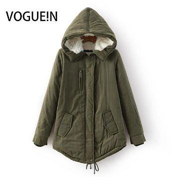 VOGUE!N New Womens 2016 Winter Coat Parka Casual Outerwear Military Hooded Coat Winter Army Green Jacket Women Fur Coats
