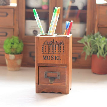 Wood Pen Organizer with Drawers