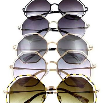 Large Hexagon Cut Out Metal Sunglasses