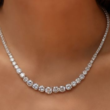 Crystal Graduated Tennis Necklace in 18K White Gold