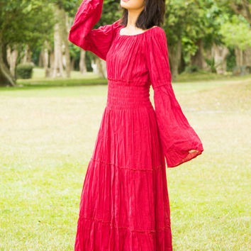 Design Your Clothes- Boho Dress Plus Size Clothing, Custom Made, Gypsy Hippie Boho Tiered Peasant Renaissance Flare Long Sleeve Maxi Dress