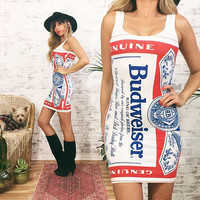 Vintage 80's Rare BUDWEISER Bodycon Mini Dress || Size Xs To Small