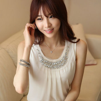 Women Sleeveless Pleated White Chiffon Shirt Blouse with Crystal  Plus Sizes S - 3X