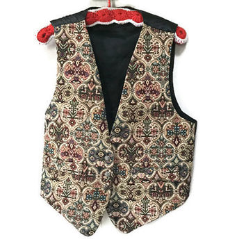 Vintage Tapestry Vest, Needlepoint Vintage Vest, 1980s Patterned Vest, Vintage 80s Vest, Silver Buttons Black Satin Adjustable Vest Fall L M
