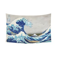 JC-Dress Wall Tapestry Great Wave Off Kanagawa Hokusai Cotton Linen Tapestry Hanging 90x60
