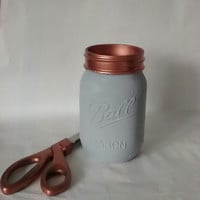 Painted Mason jar, Vase, Mason jar decor, copper mason jar, mason jar decoration, desk organizer, home decor.