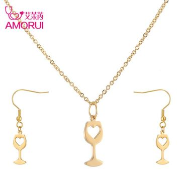 Trendy Wine Glass w/ Heart - Necklace & Earring Set