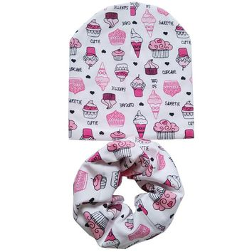 Cotton Baby Hat Set Ice Cream Love Print Cotton Cap Baby Hats Newborn Hat Children Scarf Collar Boys Beanie Kids Cap for Girls