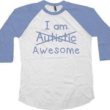 Autism Awareness T Shirt I Am Awesome Autistic Shirt Puzzle Piece Autism Shirt Kids With Autism American Apparel Unisex Youth Raglan - SA596