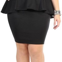 plus size peplum skirt with zipper - debshops.com