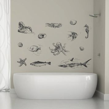 ik1334 Wall Decal Sticker squid seahorse shark cancer fish sea animals bathroom